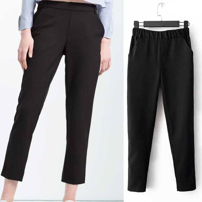 Simple Large Size Women Jeans Female Elastic Waist Jeans Straight Waist Slim