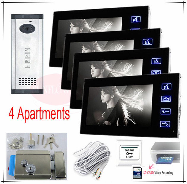 SD CARD Video recording/Take photos Video door phones intercom systems door bells for 4 Apartments+Electronic control lock !(China (Mainland))