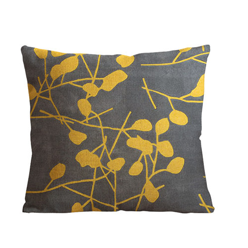 Throw Pillows Bulk : Wholesale-18x18-inch-yellow-leaves-art-Throw-Pillow-Covers-round-Leaf-Sofa-cushion-cover-Linen ...