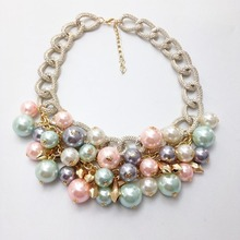 2015 Newst Design Fashion Pearl Jewelry Wholesale Colours Pearl Pendant Necklaces For Women Party Accessories