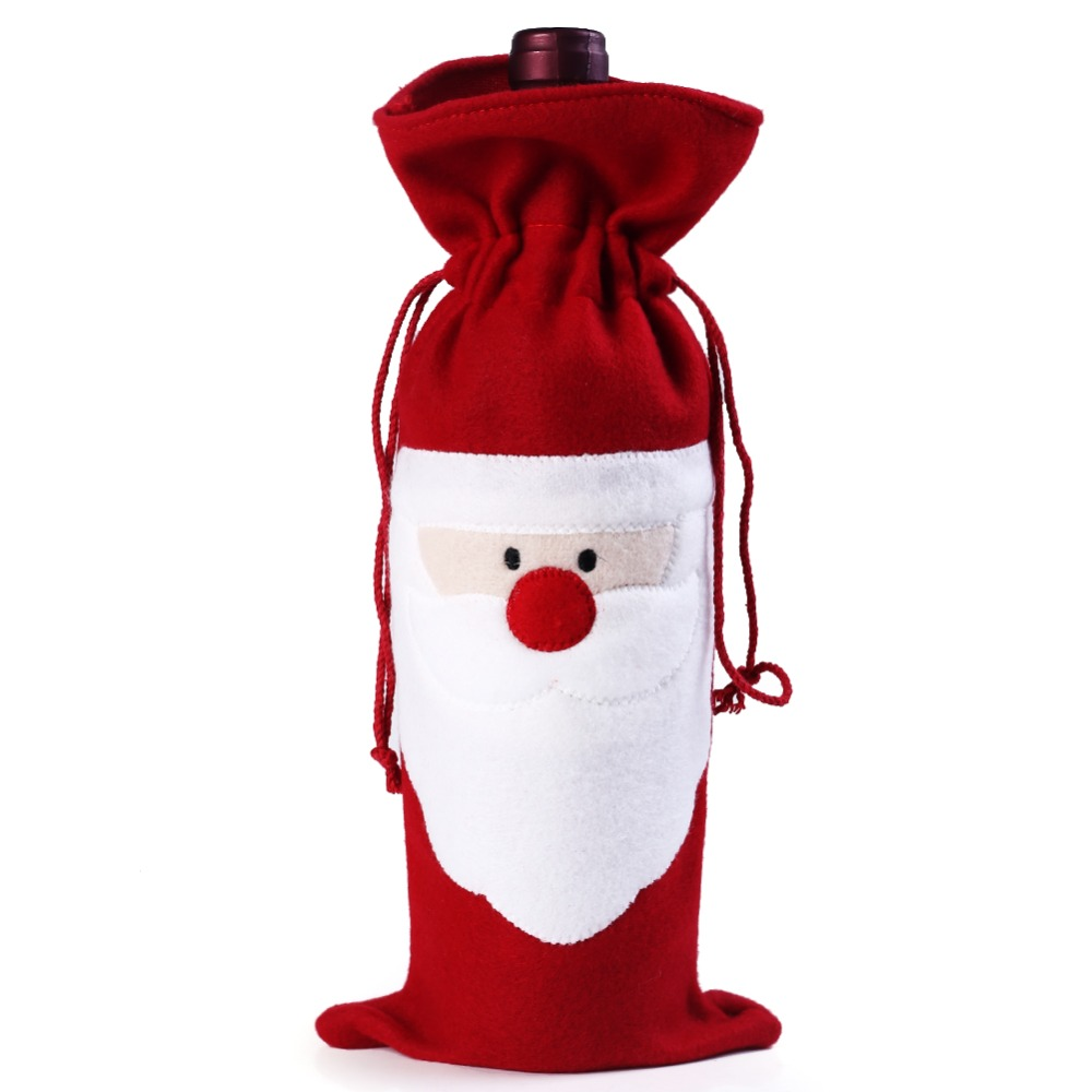 1 PCs Christmas Santa Claus red wine bottle cover bags Christmas dinner table decoration at home come party decors(China (Mainland))