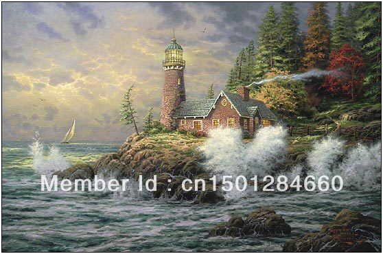 high quality handmade no frame Courage by Thomas Kinkade huge oil painting on canvas modern art wall decoration for living room(China (Mainland))