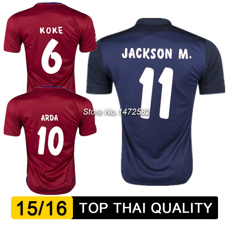 Гаджет  camisetas de futbol 2016 madrid soccer jersey uniforms thai quality 15 16 VIETTO JACKSON M KOKE maillot de foot red blue shirts None Спорт и развлечения