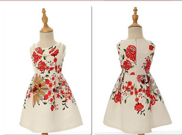 2015 European Style New Collection Childrens Dress Baby Grils Fashion Cotton Printing Flower Retro Dress Girls Kids A-Line Dress(China (Mainland))