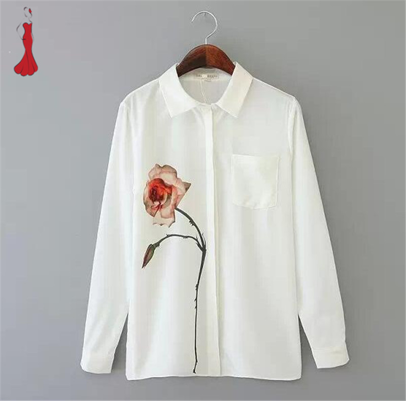 Women shirts 2015 spring summer hot fashion womens rose for White floral shirt womens