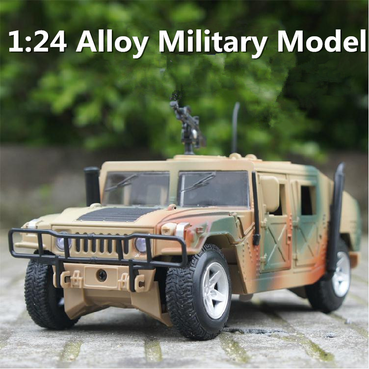 1:24 alloy model military jeep, high simulation with machine guns, pull back toy car, free shipping classic collection(China (Mainland))