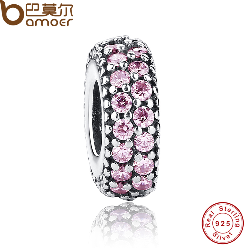New Gift Charms Fit Original Bracelet Necklace Pure 925 Sterling Silver Inspiration Within Spacer, Pink CZ Beads PAS124(China (Mainland))