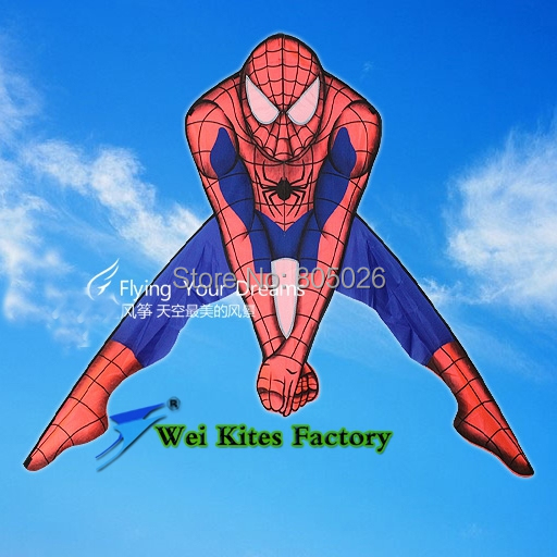 free shipping high quality spiderman kite with handle line outdoor toys flying kites nylon ripstop fabric kitesurf child reel(China (Mainland))