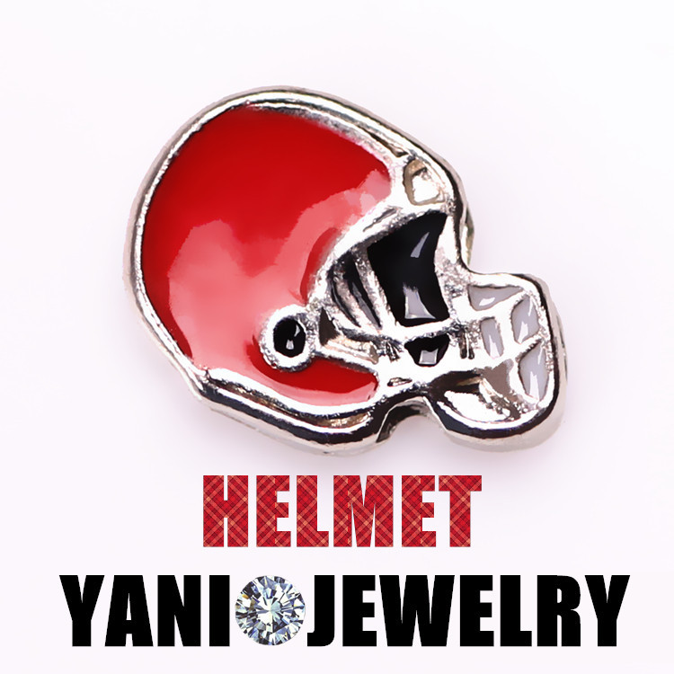20pcs/lot Newest 2015 Floating Red Enamel Football Helmet Charms for Glass Lockets Free Shipping(China (Mainland))