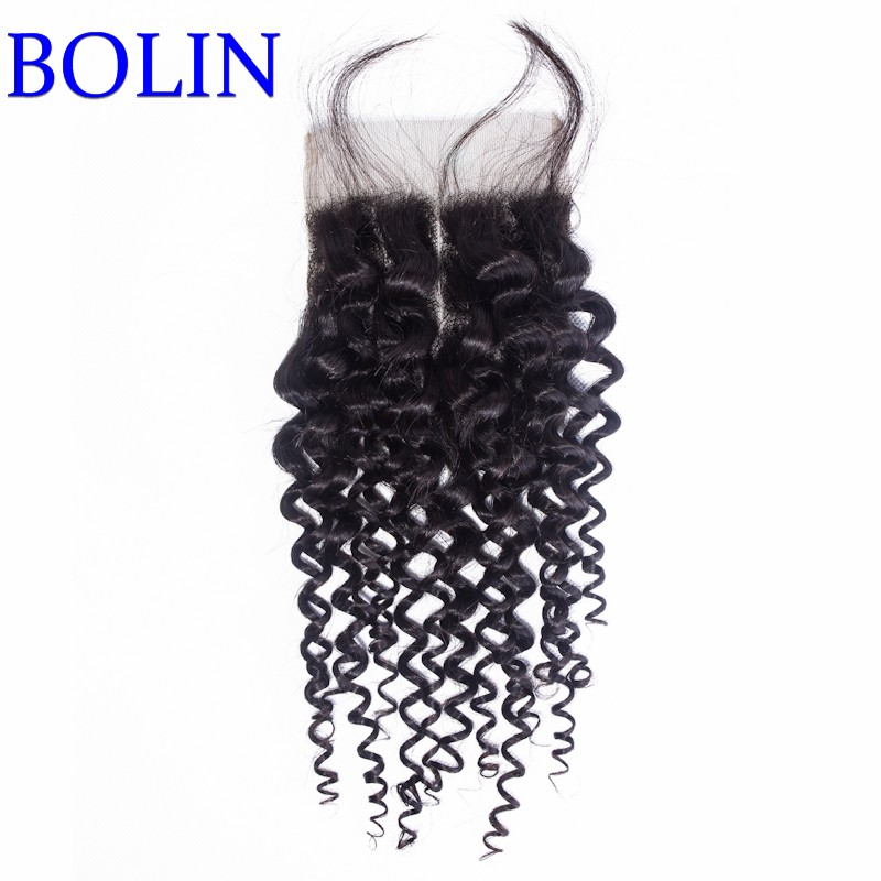 Middle Part Natural Color 4*4 Size Stock Brazilian Kinky Curly Closure<br><br>Aliexpress