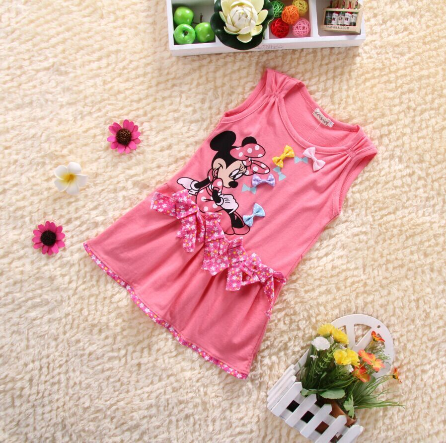 New2015 Baby Girl Summer Dress Girls Minnie Mouse Pink Red Dress Girl's Casual Party Dress cottons ummer dress for Girls(China (Mainland))