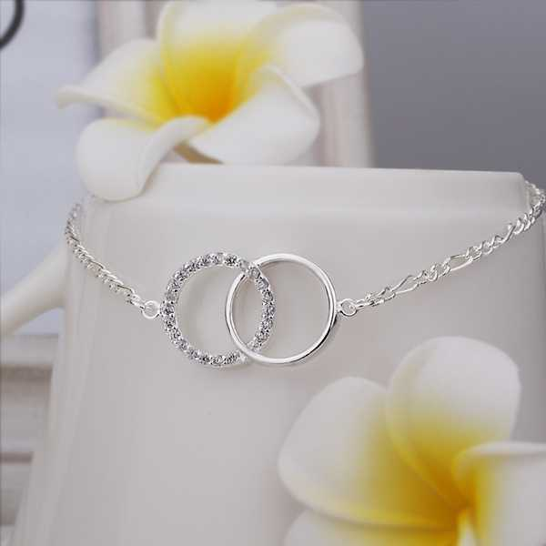 New Arrival!! Wholesale Cheap Insets Double Circle Anklets Silver plated Fashion Jewelry Personality Gift SMTA005(China (Mainland))