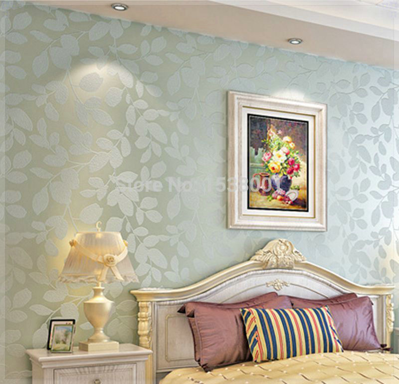 Elegant Non Woven Light Blue Leaf Embossed Wallpaper Warm