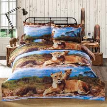 4pcs/set bed cover Luxury 3D Printed Bedding Set Lion Pattern Queen Size Duvet Cover+Bed Sheet+2 Pillowcases housse de couette(China (Mainland))