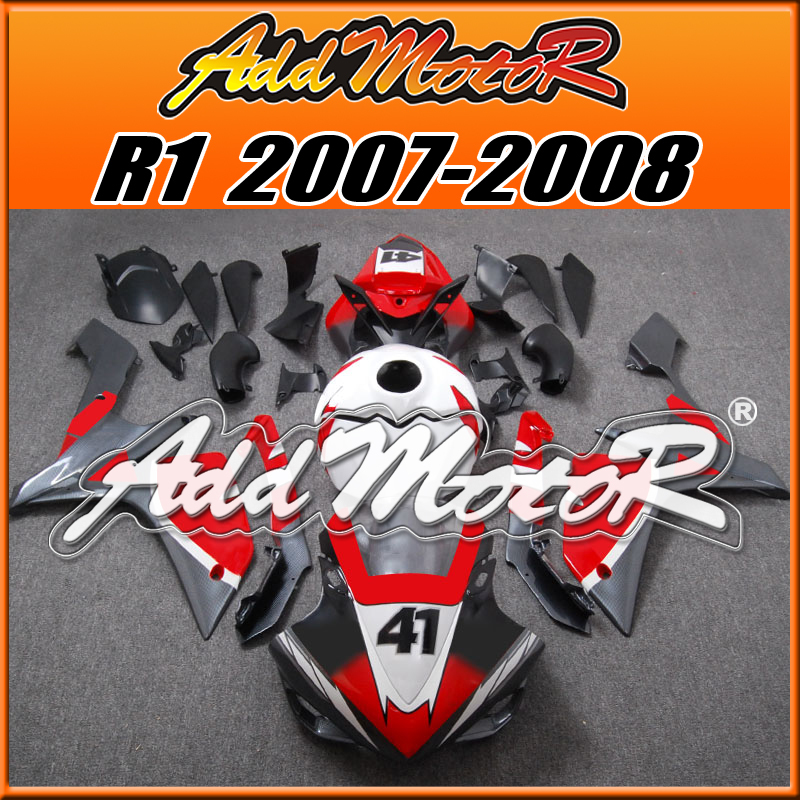 Addmotor Injection Mold Fairing For Yamaha YZF-R1 YZF R1 2007 2008 07 08 Racing Red White Grey Carbon Fiber Pattern Y1791(China (Mainland))