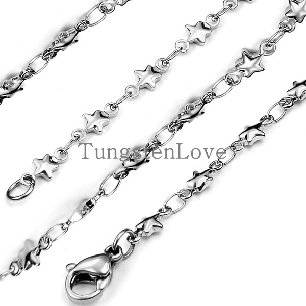 22 Inch 3mm Width High Quality Stainless Steel Necklace Men's Women Star & Rolo Link Chain Silver Necklaces (With Gift Bag)(China (Mainland))