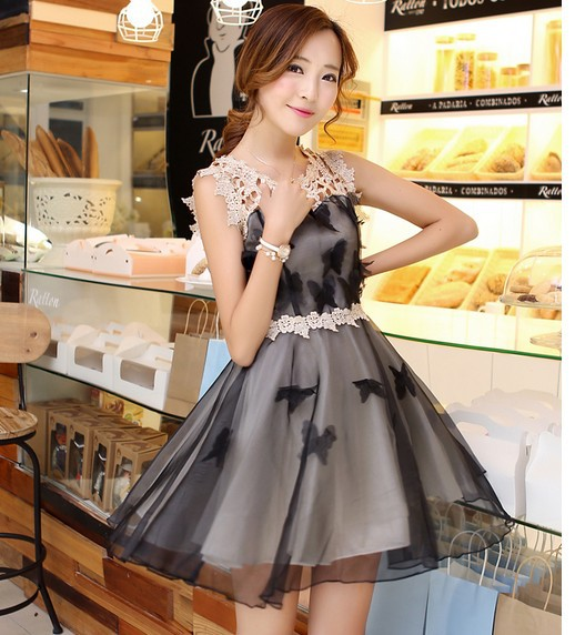 2014 fashion Silk Organza Cheap Dresses Tube Top Flower Embroidered Lace One-piece Women Dress Sleeveless S-XL - Just Me store