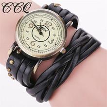 CCQ Brand Fashion Vintage Retro Rivet Braided Genuine Leather Bracelet Watch Women Quartz Watch Clock Relogio