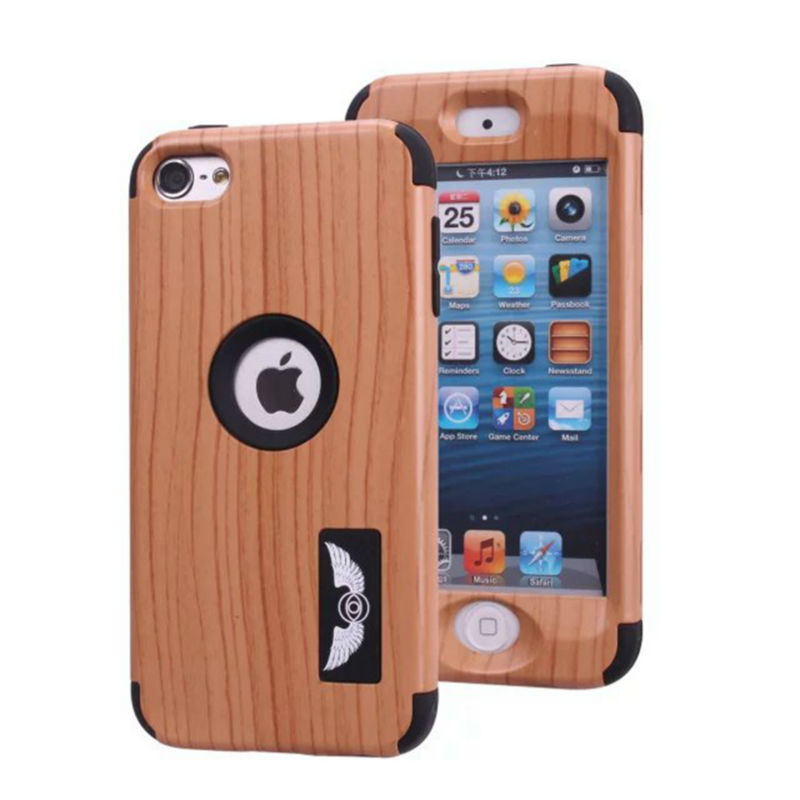 For Apple Touch 6 Case Wood Grain Design 3 in 1 High Impact Heavy Duty Hard Rugged Rubber Case Cover(China (Mainland))