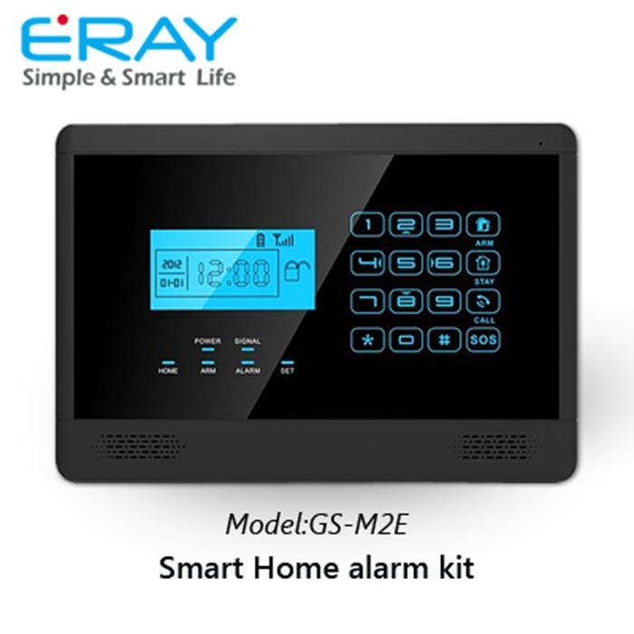 ERAY GS-M2E White & Black Wirelss Touch GSM Alarm System Home Burglar for Home Safety Support up to 99 Wireless Zones(China (Mainland))