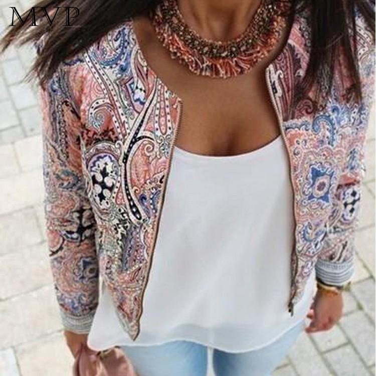 Fanala Bomber Jacket Women Print O-Neck Casual 2017 Jackets Zipper Jackets Women Spring Jacket Down Coat Long Sleeve Outwear XL