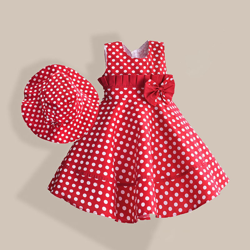 Summer Girl Dress with Hat Red Dot Fashion Bow Girls Dresses Casual A-line Kids Clothes robe fille enfant 3-8T(China (Mainland))