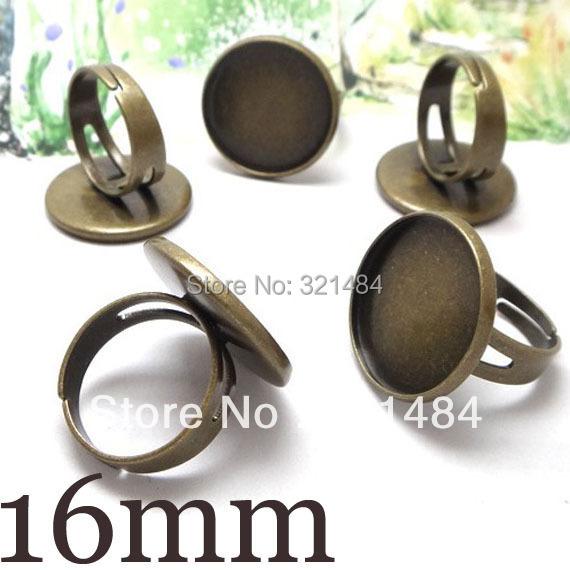 Antique bronze/brass 200pcs 16mm Ring Blank Base Bezel Cabochon Setting