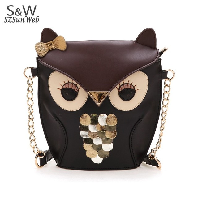 New Women's Splicing Color Shoulder Cross Body Bag Owl Pattern Holder Cover School Tote Small Bag Handbag black + brown  29