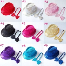 Kids sequin hat with bowtie set for children Kids fedora hat with bow tie Boys girls fedoras with Sequins 10set BH236C(China (Mainland))
