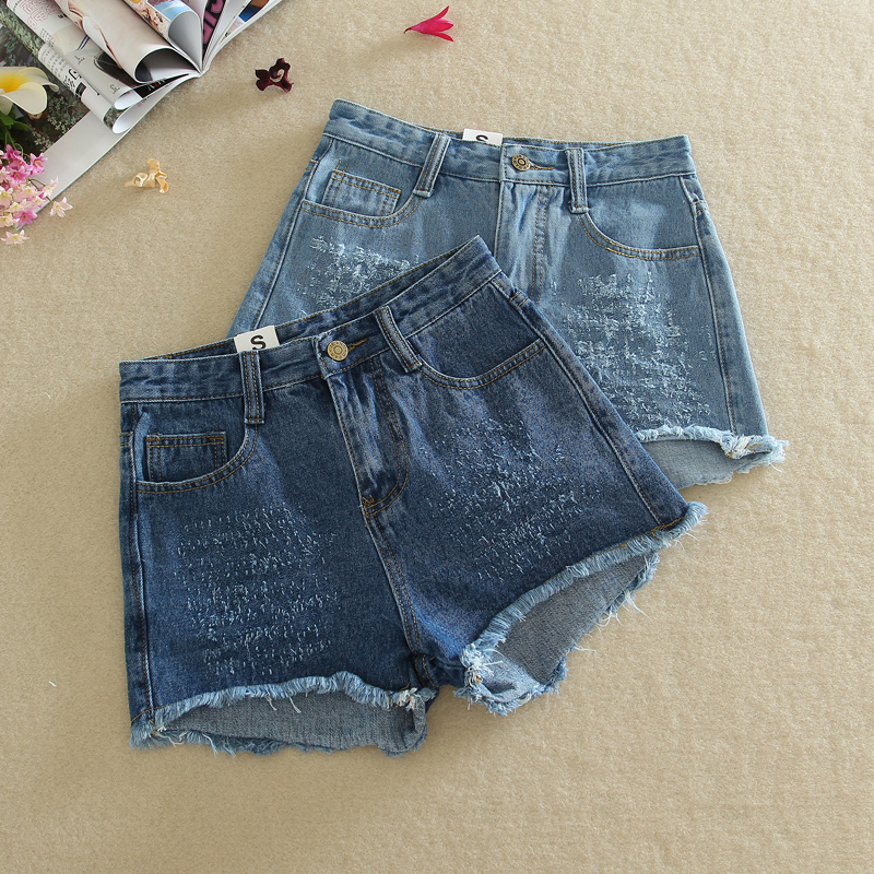 6113 # 2015 Dongguk door grip pattern summer models tassel denim shorts female fat MM(China (Mainland))