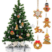 6Pcs DIY Christmas tree decoration Gingerbread Man Hanging Party Deko F(China (Mainland))