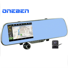 "5.0"" IPS Touch Android 4.4 FHD1080P Dash Camera Parking Car Dvrs Rearview Mirror Video Recorder Car DVR Dual Camera GPS+Free map(China (Mainland))"