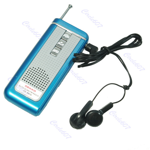 New Blue Portable Belt Clip Auto Scan FM Radio Receiver With Flashlight Earphone