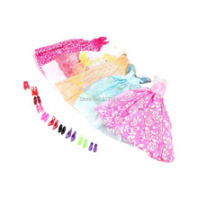 1Set=5Pcs Handmade Princess Party Gown Dresses Clothes+10 Shoes For Barbie doll(China (Mainland))