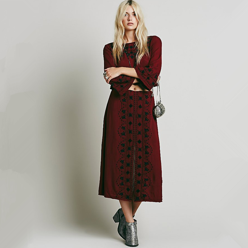 Maxi Women Flowers Embroidery Flare Sleeve Gown Long Dress Red 2016 Fall Bohemia People Style Sexy O-neck Twinset Boho Dresses(China (Mainland))