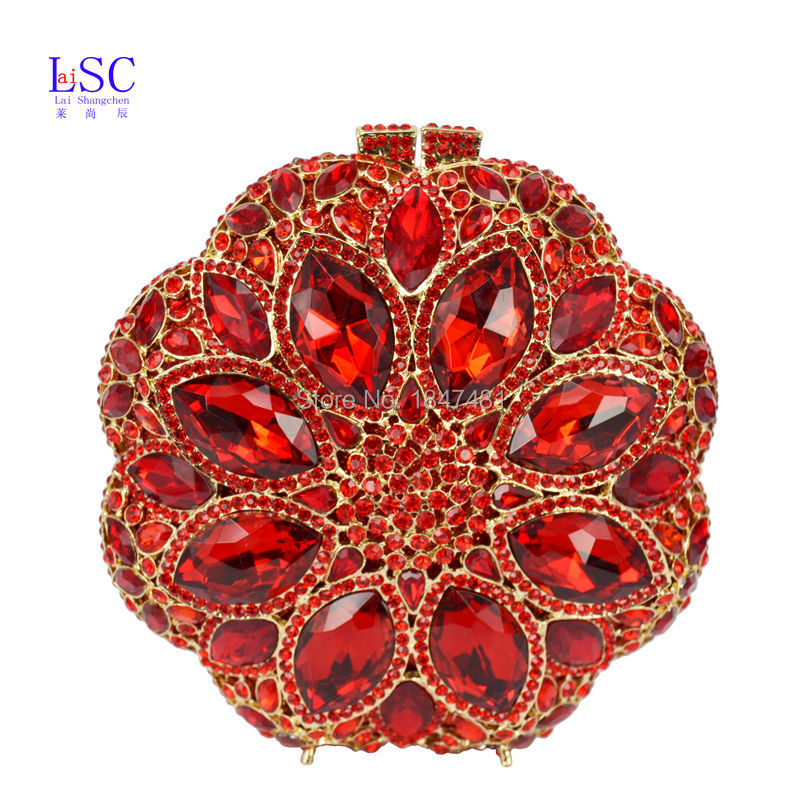 LaiSC Red Crystal Evening Bag Roundness Luxury Clutch bags Wedding Party Purse Prom Handbag Banquet Bag Day Clutches SC251(China (Mainland))