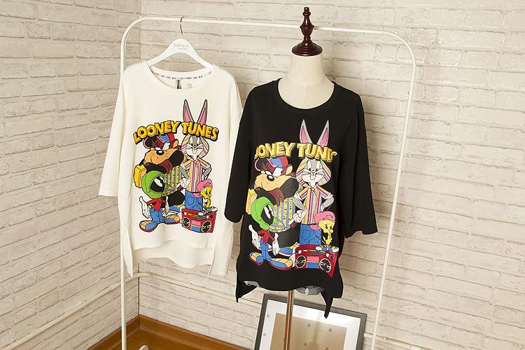 Free Shipping fashion cartoon bugs bunny looney tunes rabbit short-sleeve woman t-shirt(China (Mainland))