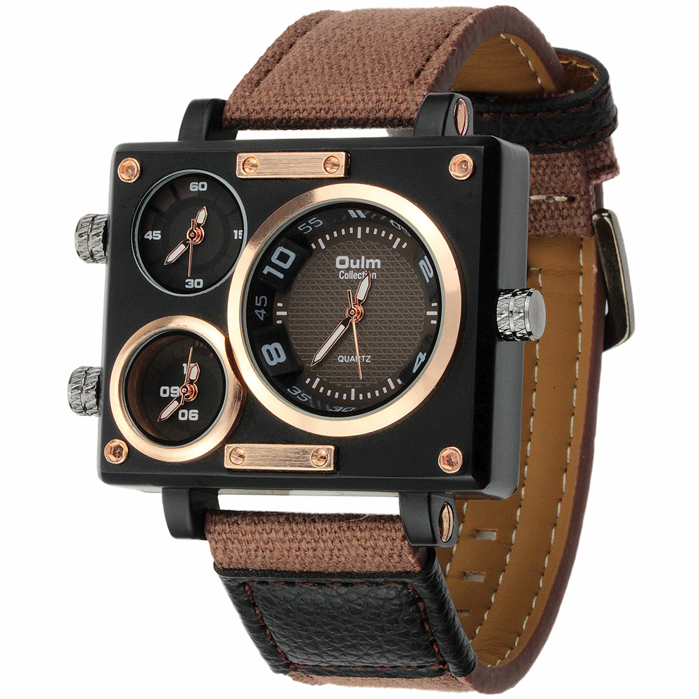 watch strap picture more detailed picture about vogue men s vogue men s collection black rectangle case three quartz time zones military canvas fabric and leather band