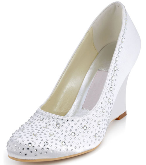 Discounting Big Size 13 White Crystal Womens Wedding Shoes Heels Wedges Ladies Party Shoes T