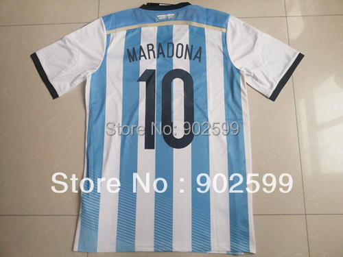 Hot Sell 2014 argentina home blue 10# Maradona best quality player version soccer football jersey,argentina National team jersey(China (Mainland))