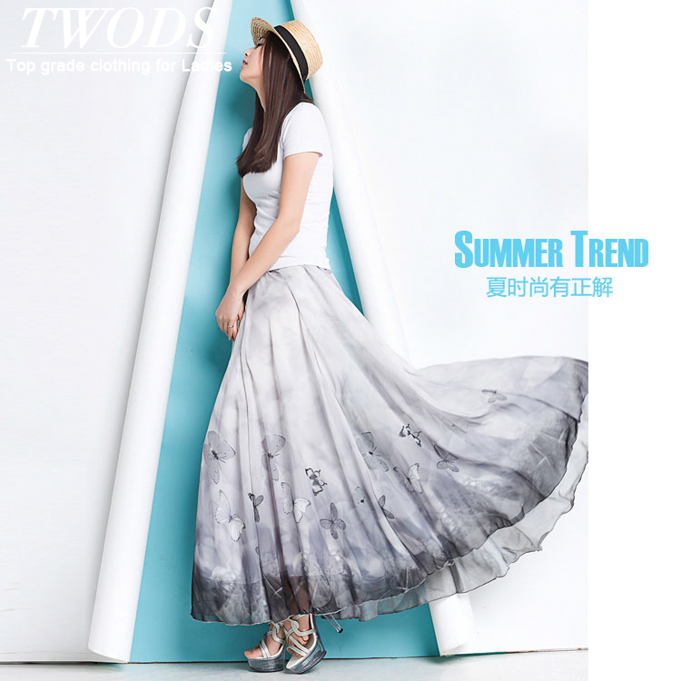 Twods 2015 new summer women long skirts vintage Butterfly printed maxi chiffon skirts 5xl plus size saia longa breach skirts 8SОдежда и ак�е��уары<br><br><br>Aliexpress