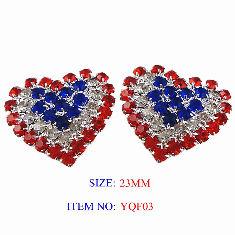 Free Shipping, 100pcs/lot, Flat Back Heart Shape Rhinestone Emellishment 22*25mm Silver Color American Flag Design(YQF03)(China (Mainland))
