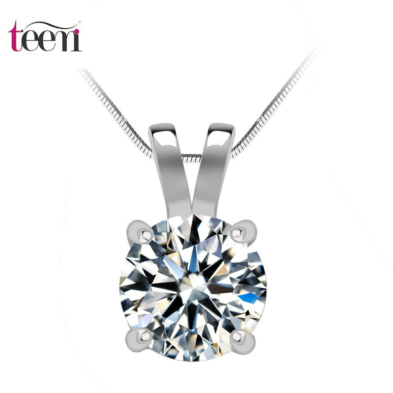 2014 Collar Jewelry Pendant Necklace Teemi Simple Design1 Carat Round Hearts Arrows Cubic Zirconia Sona Plated Necklace(China (Mainland))
