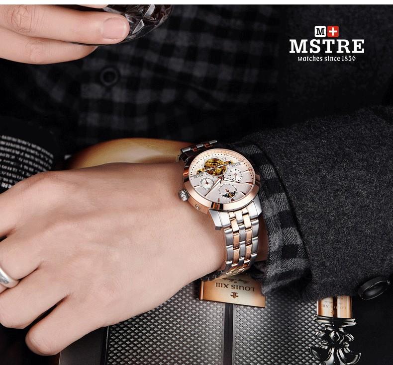 Марка Классическая Мода Бизнес Случайный Часы мужские Автоматические Самостоятельно ветер Наручные Часы Tourbillon Moon Phase Выдалбливают Календарь
