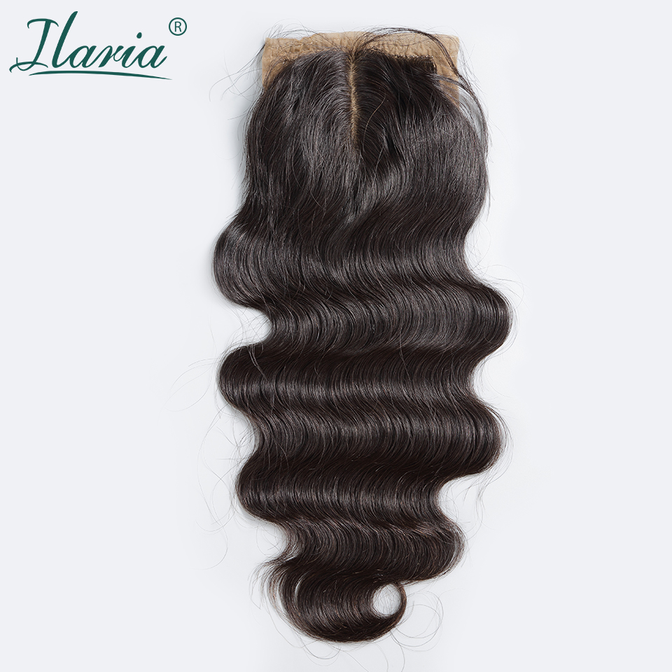 "Middle Part Body Wave Silk Base Closure 4""*3.5"" 100% Brazilian Human Hair Silk Top Closure Bleached Knots Grade 7A Shipping Free(China (Mainland))"