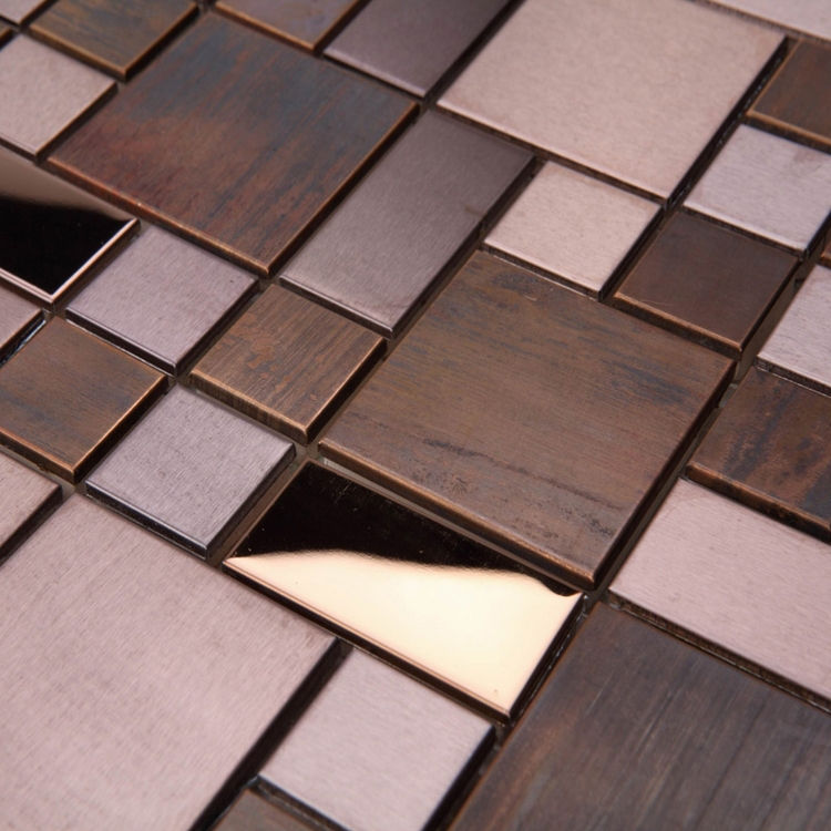Classic square bronze metal mosaic tiles for bathroom for Mosaic salle de bain