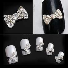 Lot 10x 3D Clear Alloy Rhinestone Bow Tie Nail Art Slices Decorations Manicure(China (Mainland))
