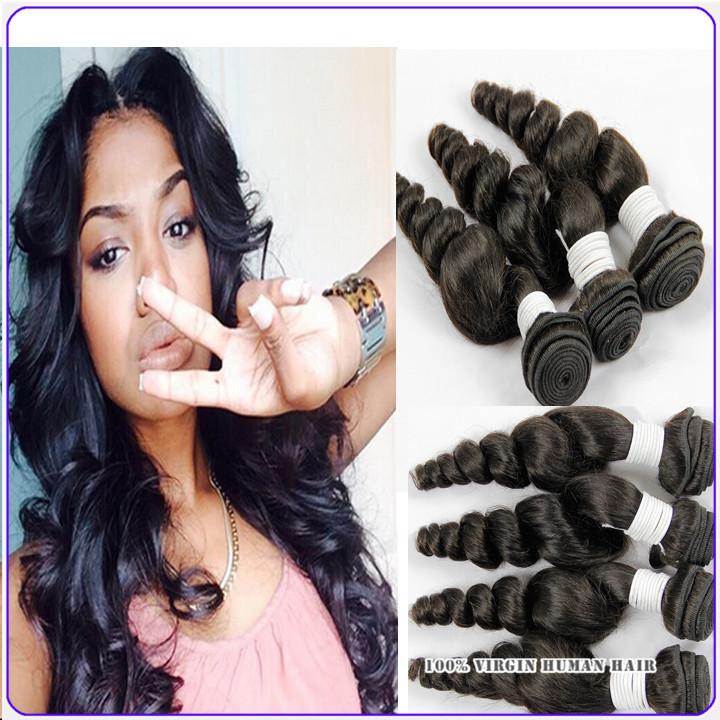 8A brazilian loose wave virgin hair 4 piece lot unprocessed human hair weave top quality natural black brazilian loose wave(China (Mainland))