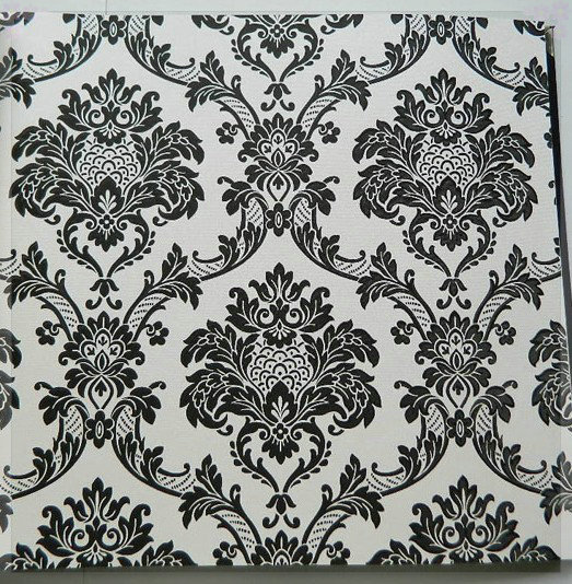 Black And White Color Damascus European Pvc Wallpaper