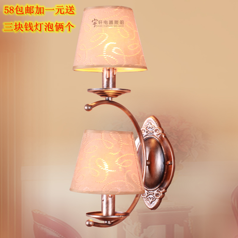 American fashion country wall light vintage fabric bedside brief entranceway double slider wall lamp<br><br>Aliexpress